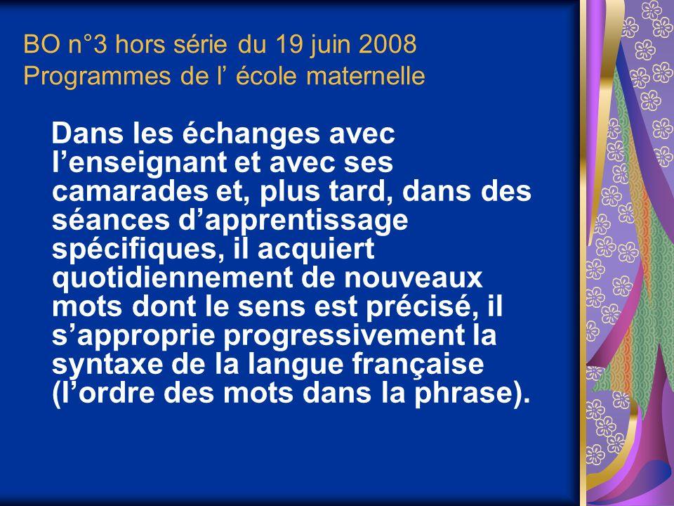 BO n°3 hors série du 19 juin 2008 Programmes de l école maternelle Dans les échanges avec lenseignant et avec ses camarades et, plus tard, dans des séances dapprentissage spécifiques, il acquiert quotidiennement de nouveaux mots dont le sens est précisé, il sapproprie progressivement la syntaxe de la langue française (lordre des mots dans la phrase).