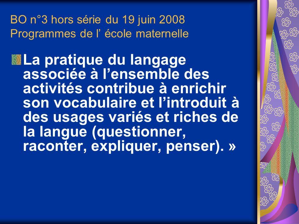 BO n°3 hors série du 19 juin 2008 Programmes de l école maternelle La pratique du langage associée à lensemble des activités contribue à enrichir son vocabulaire et lintroduit à des usages variés et riches de la langue (questionner, raconter, expliquer, penser).