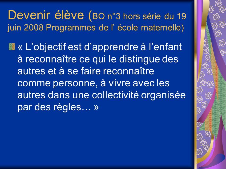 Devenir élève ( BO n°3 hors série du 19 juin 2008 Programmes de l école maternelle) « Lobjectif est dapprendre à lenfant à reconnaître ce qui le distingue des autres et à se faire reconnaître comme personne, à vivre avec les autres dans une collectivité organisée par des règles… »
