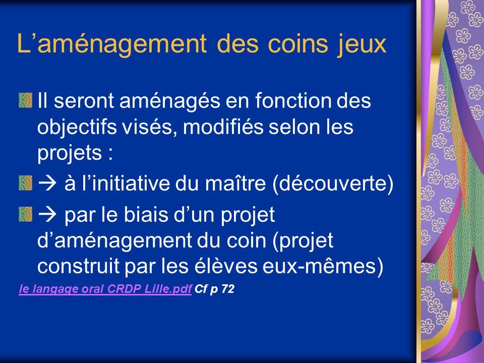 Laménagement des coins jeux Il seront aménagés en fonction des objectifs visés, modifiés selon les projets : à linitiative du maître (découverte) par