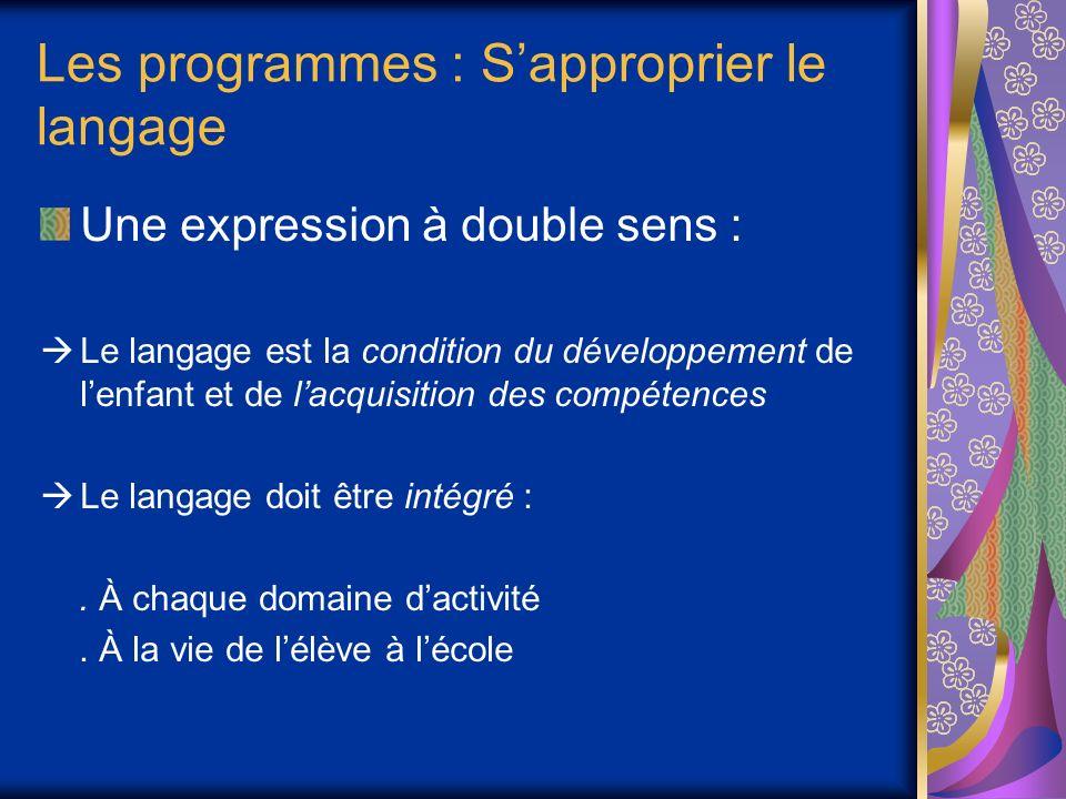 Les programmes : Sapproprier le langage Une expression à double sens : Le langage est la condition du développement de lenfant et de lacquisition des compétences Le langage doit être intégré :.