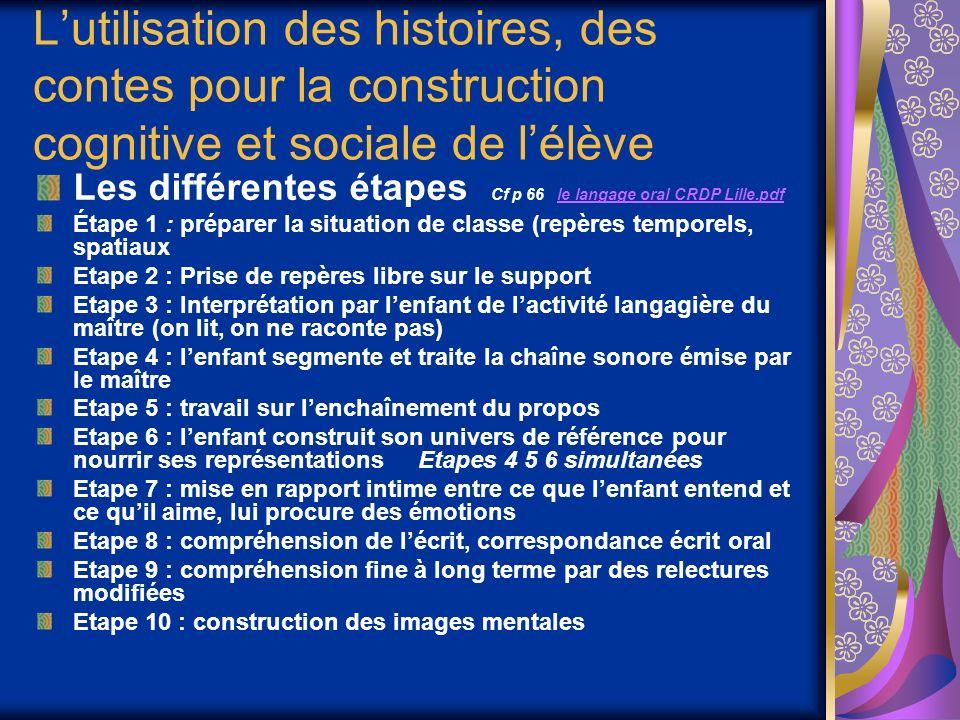 Lutilisation des histoires, des contes pour la construction cognitive et sociale de lélève Les différentes étapes Cf p 66 le langage oral CRDP Lille.p