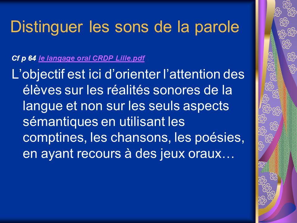 Distinguer les sons de la parole Cf p 64 le langage oral CRDP Lille.pdfle langage oral CRDP Lille.pdf Lobjectif est ici dorienter lattention des élèves sur les réalités sonores de la langue et non sur les seuls aspects sémantiques en utilisant les comptines, les chansons, les poésies, en ayant recours à des jeux oraux…