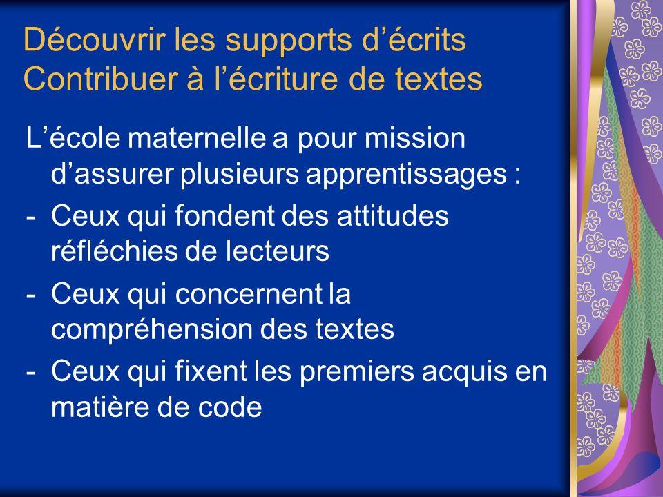 Découvrir les supports décrits Contribuer à lécriture de textes Lécole maternelle a pour mission dassurer plusieurs apprentissages : -Ceux qui fondent