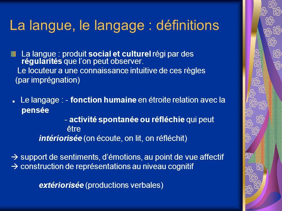 La langue, le langage : définitions La langue : produit social et culturel régi par des régularités que lon peut observer. Le locuteur a une connaissa