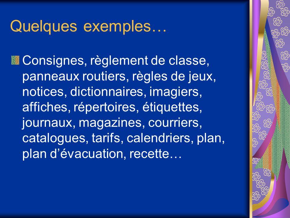 Quelques exemples… Consignes, règlement de classe, panneaux routiers, règles de jeux, notices, dictionnaires, imagiers, affiches, répertoires, étiquet