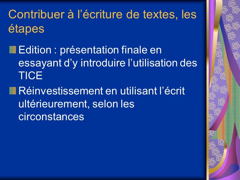 Contribuer à lécriture de textes, les étapes Edition : présentation finale en essayant dy introduire lutilisation des TICE Réinvestissement en utilisant lécrit ultérieurement, selon les circonstances