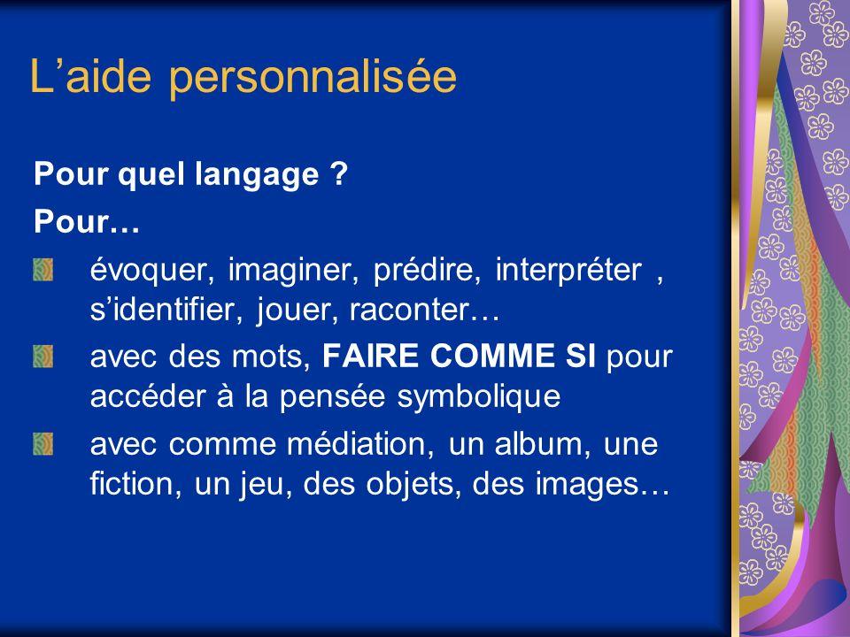 Laide personnalisée Pour quel langage ? Pour… évoquer, imaginer, prédire, interpréter, sidentifier, jouer, raconter… avec des mots, FAIRE COMME SI pou
