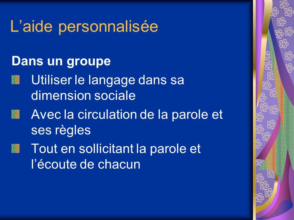 Laide personnalisée Dans un groupe Utiliser le langage dans sa dimension sociale Avec la circulation de la parole et ses règles Tout en sollicitant la parole et lécoute de chacun
