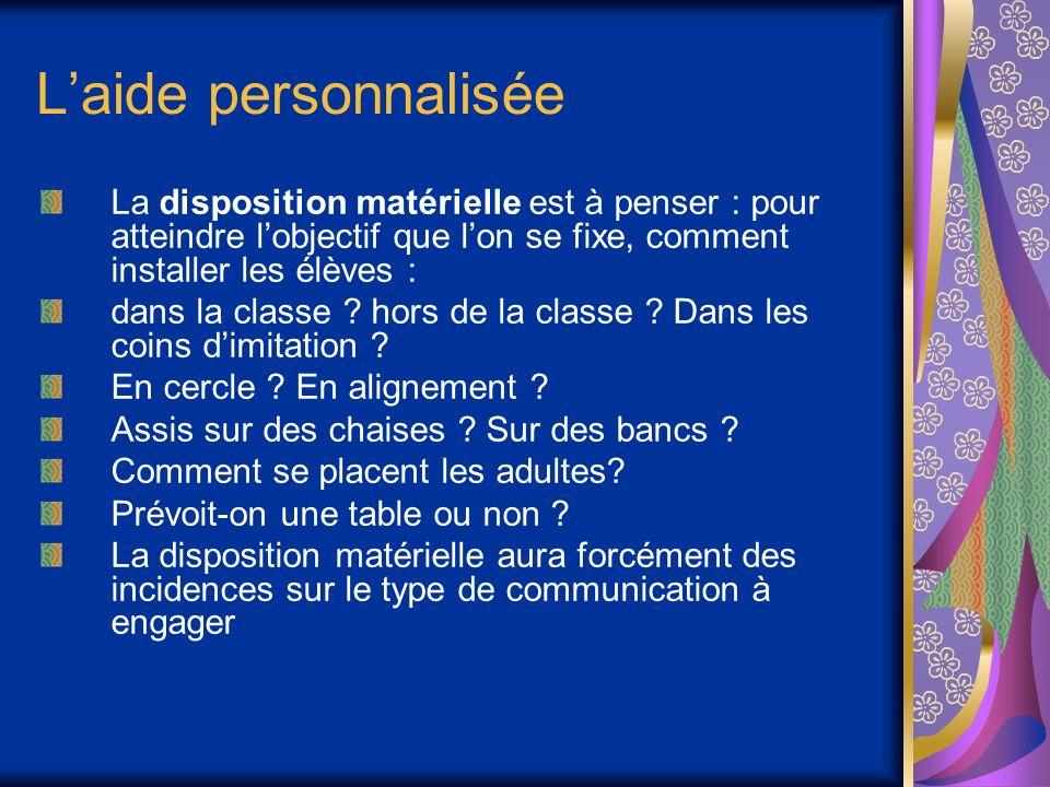 Laide personnalisée La disposition matérielle est à penser : pour atteindre lobjectif que lon se fixe, comment installer les élèves : dans la classe .