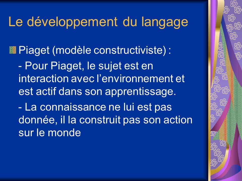 Le développement du langage Piaget (modèle constructiviste) : - Pour Piaget, le sujet est en interaction avec lenvironnement et est actif dans son apprentissage.
