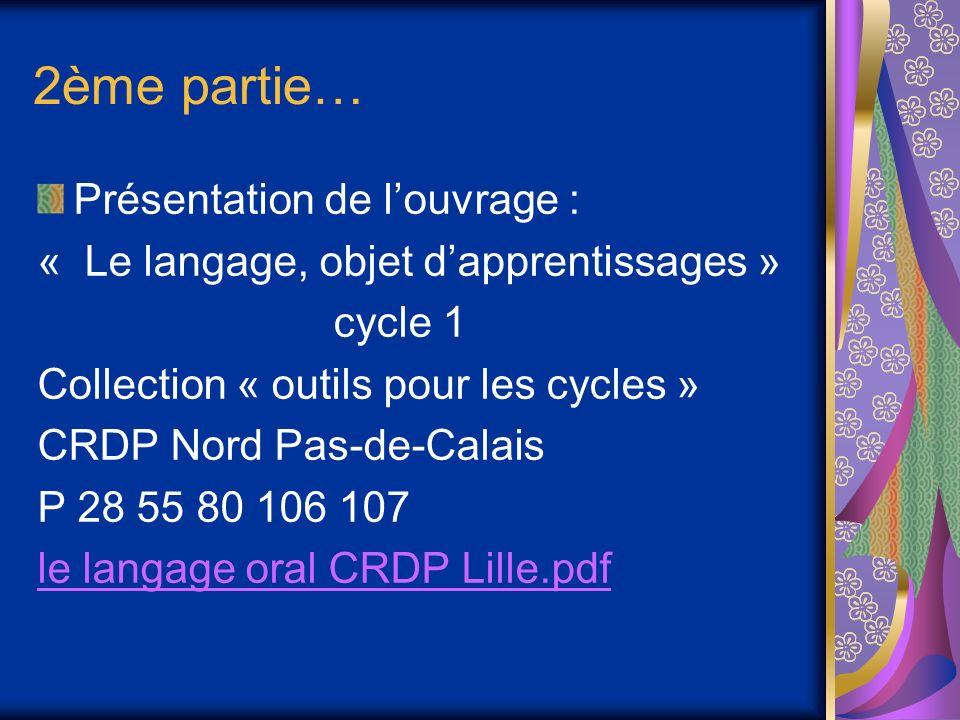 2ème partie… Présentation de louvrage : « Le langage, objet dapprentissages » cycle 1 Collection « outils pour les cycles » CRDP Nord Pas-de-Calais P 28 55 80 106 107 le langage oral CRDP Lille.pdf