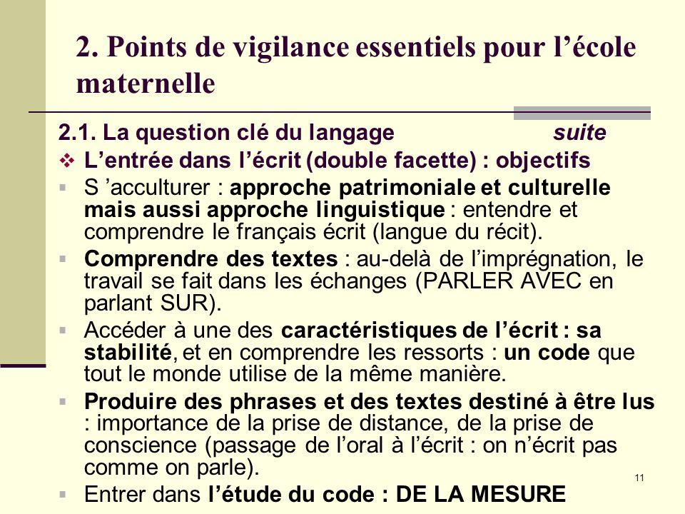 11 2. Points de vigilance essentiels pour lécole maternelle 2.1. La question clé du langage suite Lentrée dans lécrit (double facette) : objectifs S a