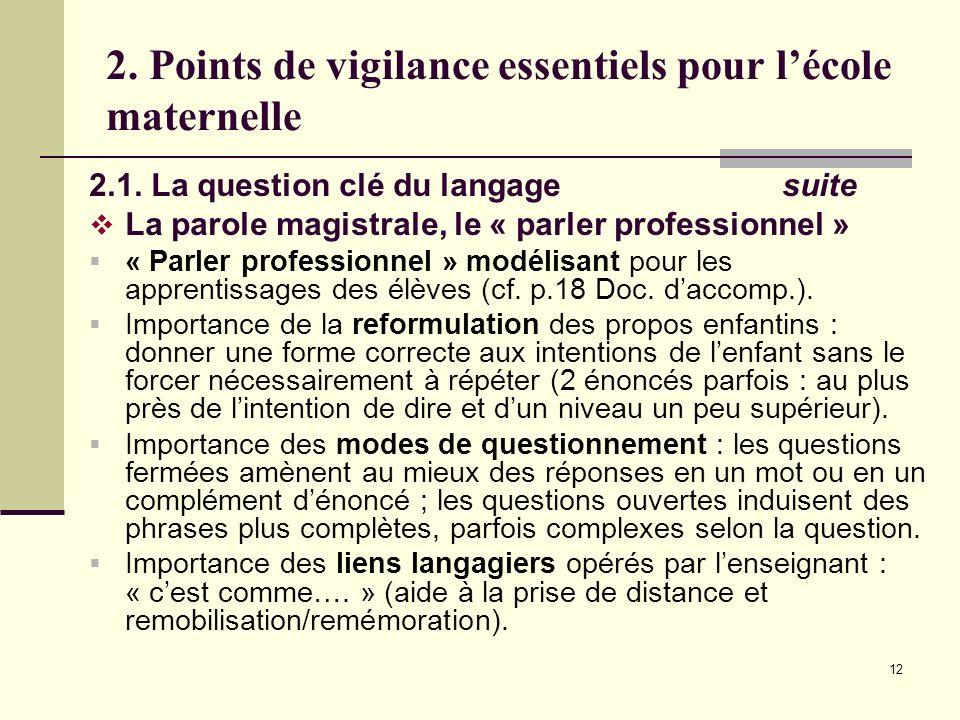 12 2. Points de vigilance essentiels pour lécole maternelle 2.1. La question clé du langage suite La parole magistrale, le « parler professionnel » «