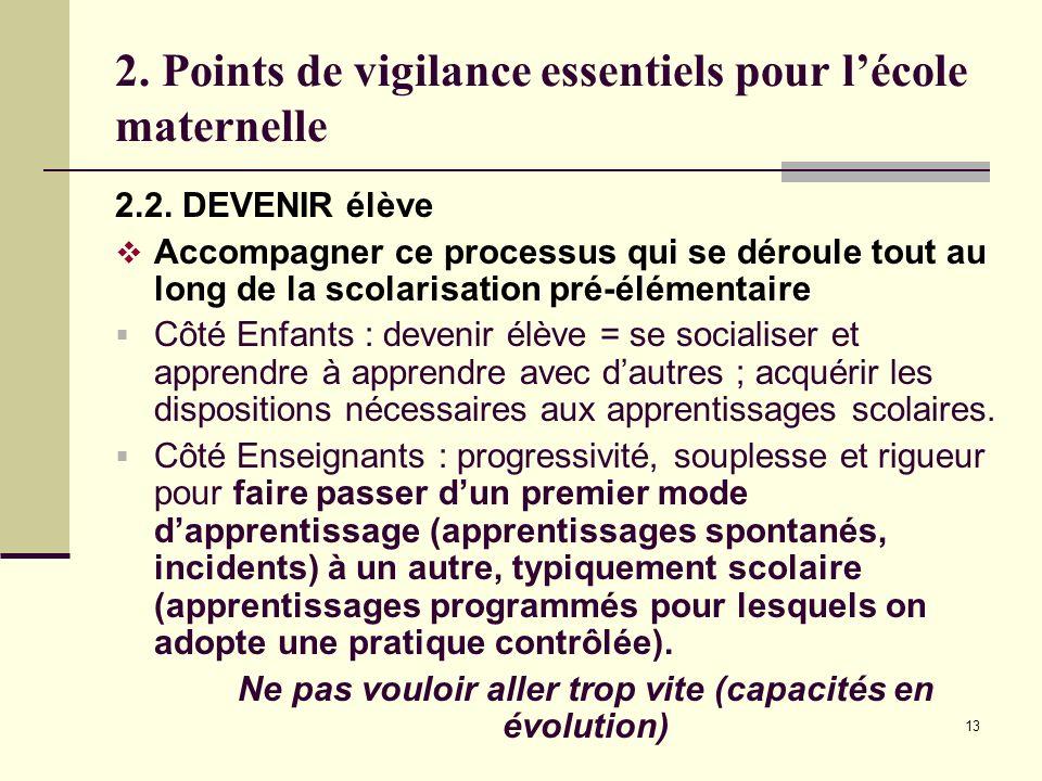 13 2. Points de vigilance essentiels pour lécole maternelle 2.2. DEVENIR élève Accompagner ce processus qui se déroule tout au long de la scolarisatio