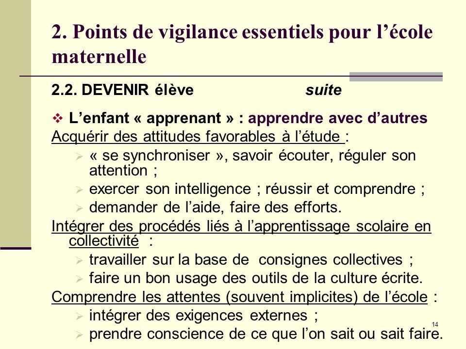 14 2. Points de vigilance essentiels pour lécole maternelle 2.2. DEVENIR élève suite Lenfant « apprenant » : apprendre avec dautres Acquérir des attit