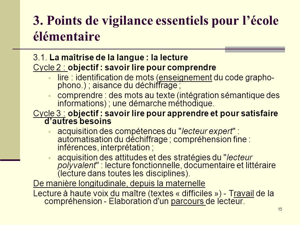 15 3. Points de vigilance essentiels pour lécole élémentaire 3.1. La maîtrise de la langue : la lecture Cycle 2 : objectif : savoir lire pour comprend