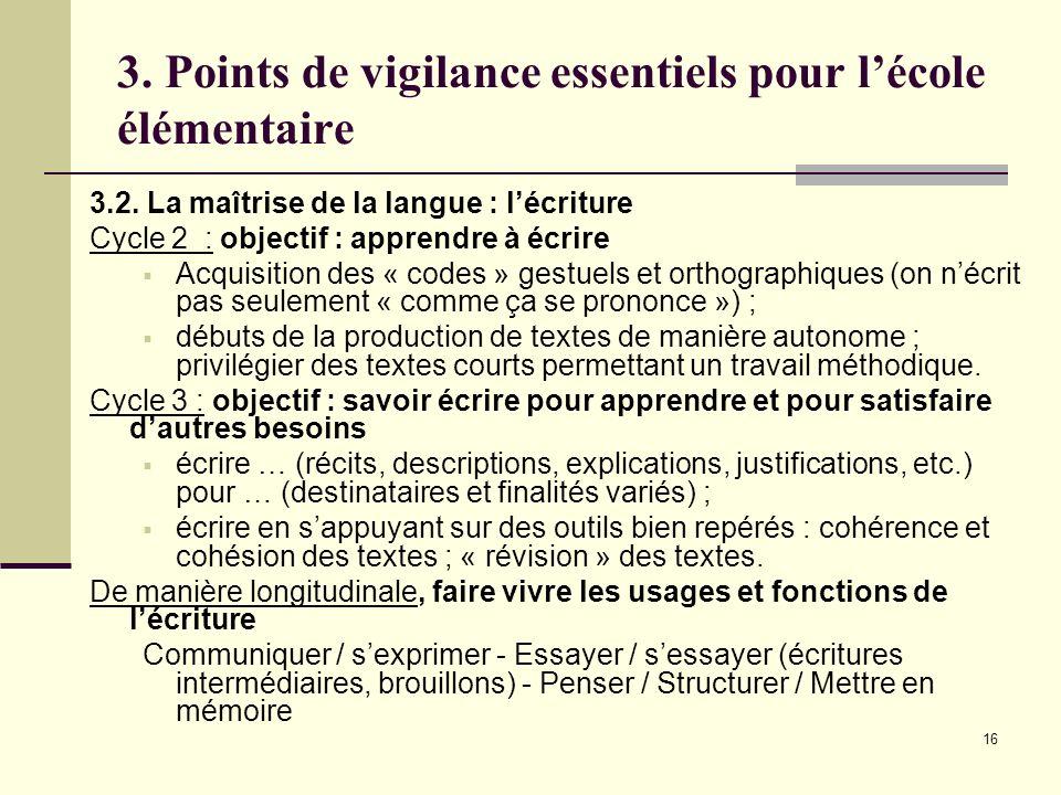 16 3. Points de vigilance essentiels pour lécole élémentaire 3.2. La maîtrise de la langue : lécriture Cycle 2 : objectif : apprendre à écrire Acquisi