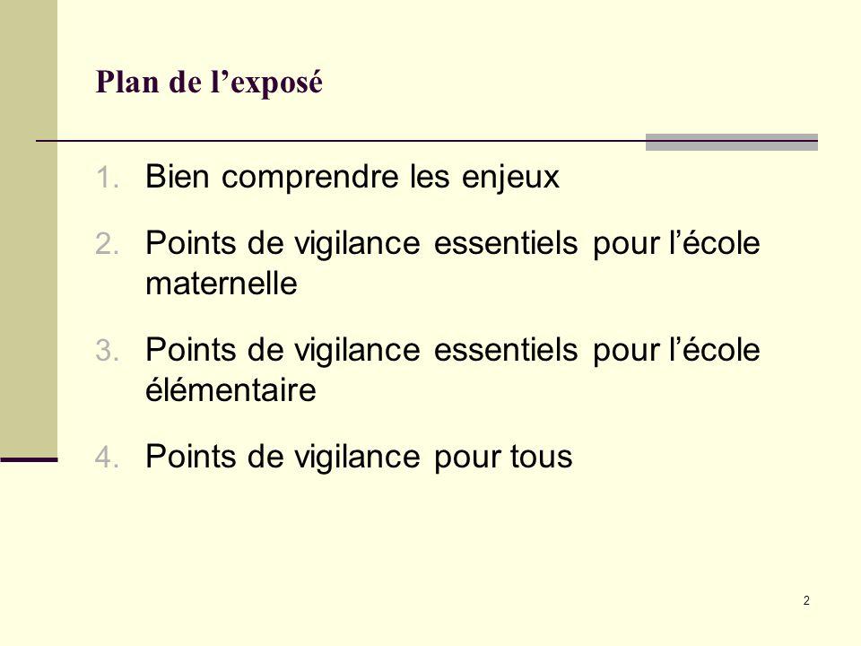 2 Plan de lexposé 1. Bien comprendre les enjeux 2. Points de vigilance essentiels pour lécole maternelle 3. Points de vigilance essentiels pour lécole