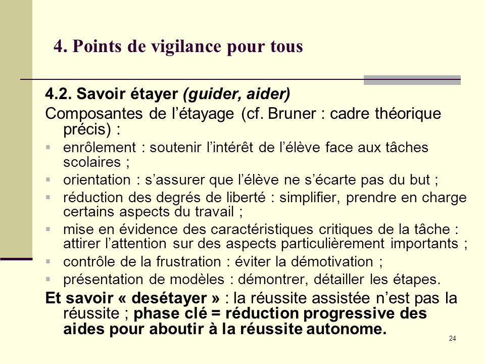 24 4. Points de vigilance pour tous 4.2. Savoir étayer (guider, aider) Composantes de létayage (cf. Bruner : cadre théorique précis) : enrôlement : so