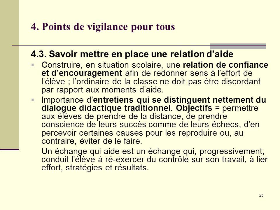 25 4. Points de vigilance pour tous 4.3. Savoir mettre en place une relation daide Construire, en situation scolaire, une relation de confiance et den