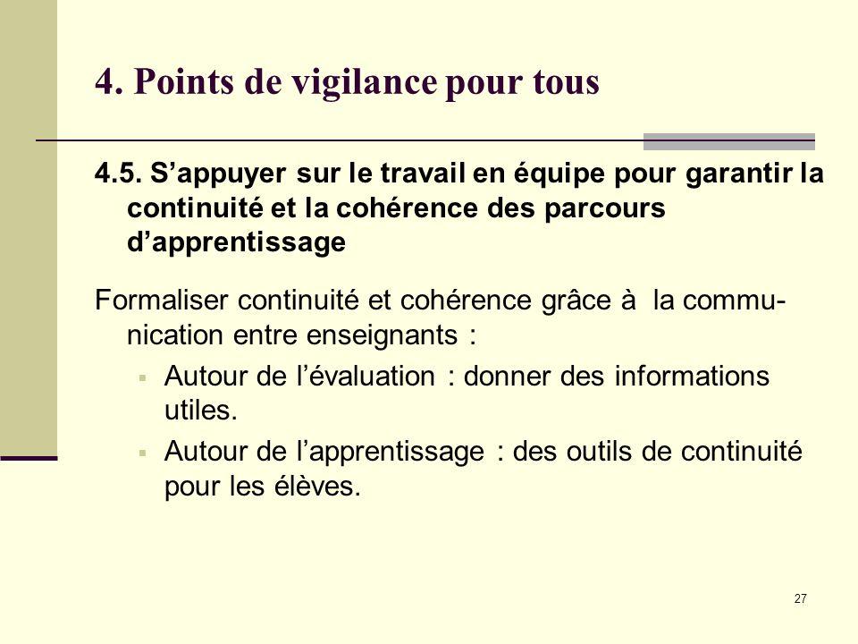 27 4. Points de vigilance pour tous 4.5. Sappuyer sur le travail en équipe pour garantir la continuité et la cohérence des parcours dapprentissage For