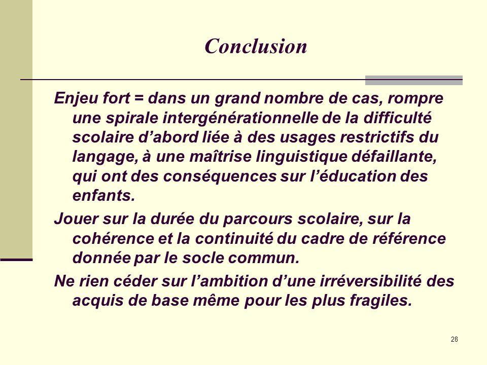 28 Conclusion Enjeu fort = dans un grand nombre de cas, rompre une spirale intergénérationnelle de la difficulté scolaire dabord liée à des usages res