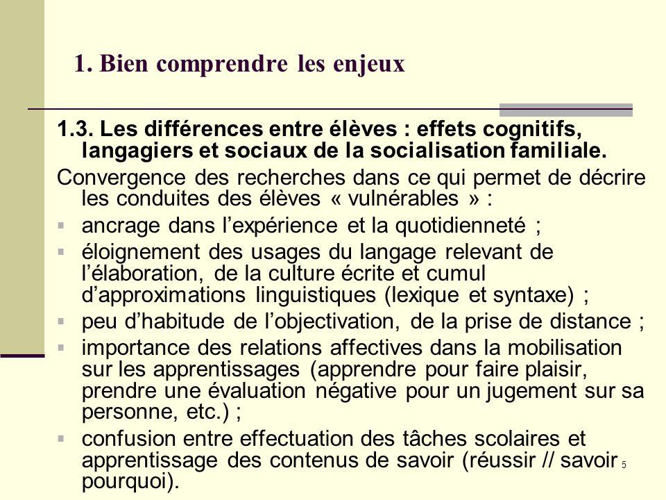 5 1. Bien comprendre les enjeux 1.3. Les différences entre élèves : effets cognitifs, langagiers et sociaux de la socialisation familiale. Convergence