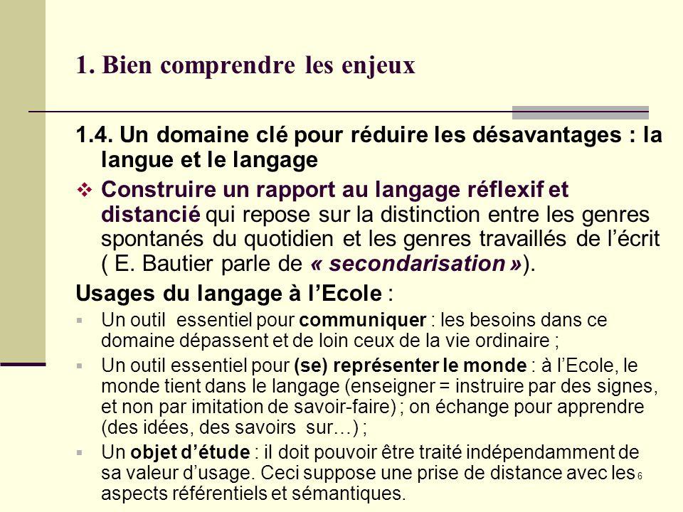 6 1. Bien comprendre les enjeux 1.4. Un domaine clé pour réduire les désavantages : la langue et le langage Construire un rapport au langage réflexif