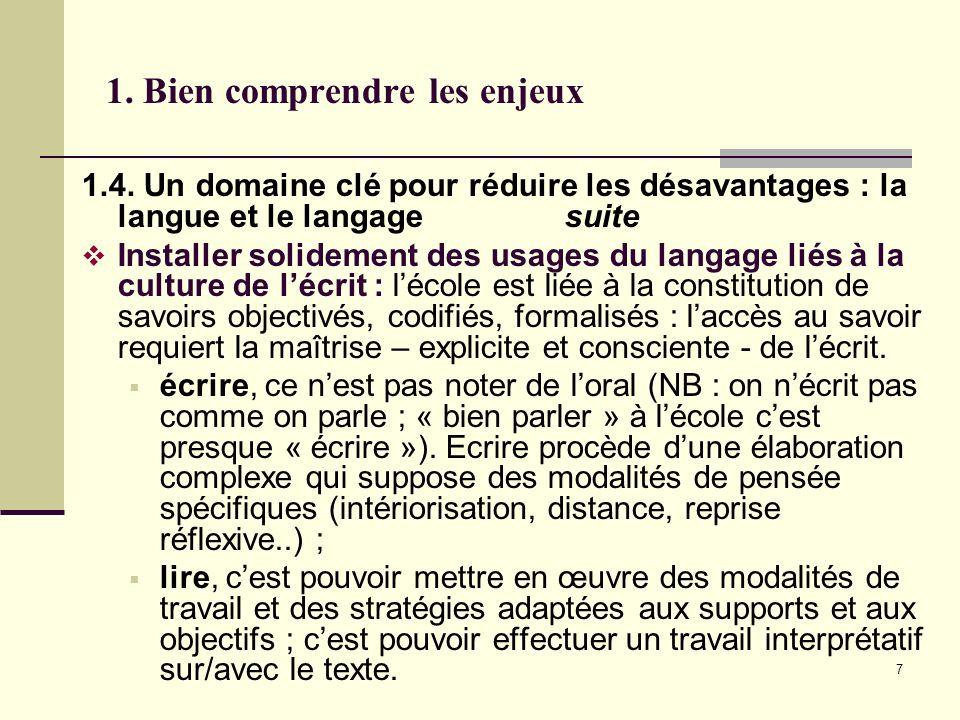 7 1. Bien comprendre les enjeux 1.4. Un domaine clé pour réduire les désavantages : la langue et le langage suite Installer solidement des usages du l