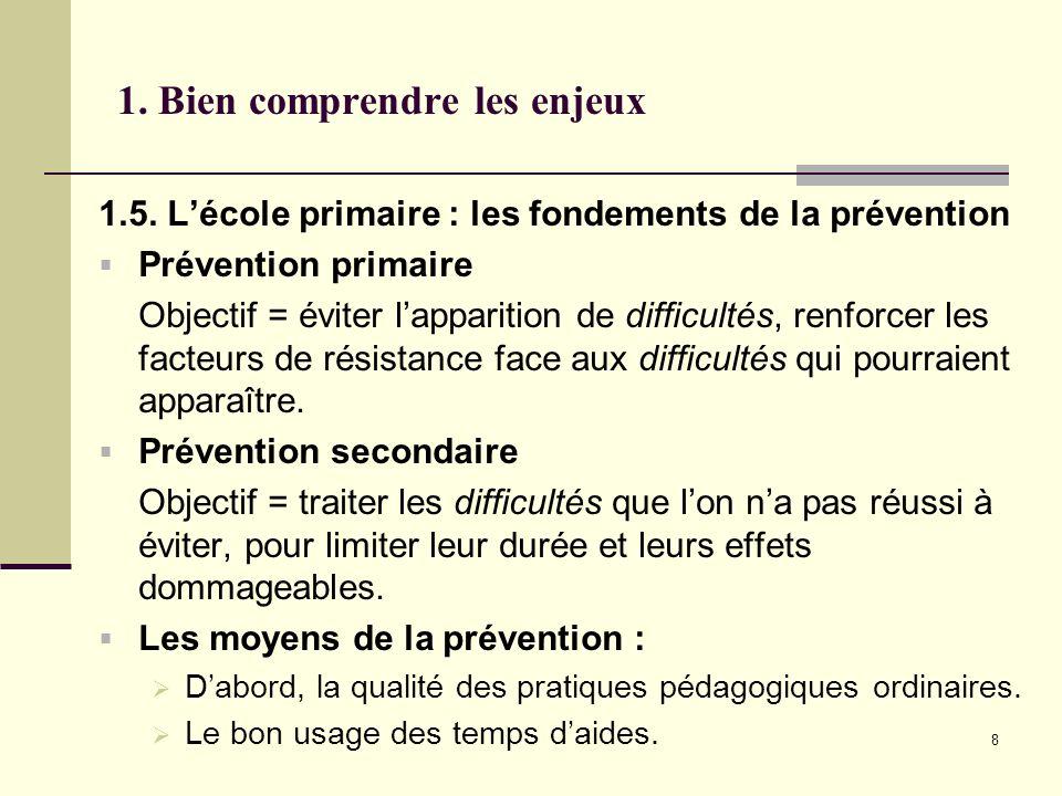8 1. Bien comprendre les enjeux 1.5. Lécole primaire : les fondements de la prévention Prévention primaire Objectif = éviter lapparition de difficulté