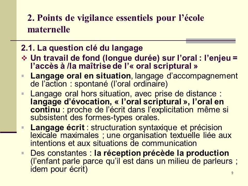 9 2. Points de vigilance essentiels pour lécole maternelle 2.1. La question clé du langage Un travail de fond (longue durée) sur loral : lenjeu = lacc