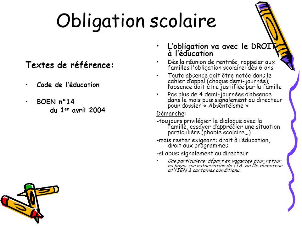 Obligation scolaire Textes de référence: Code de léducation BOEN n°14 du 1 er avril 2004 Lobligation va avec le DROIT à léducation Dès la réunion de r