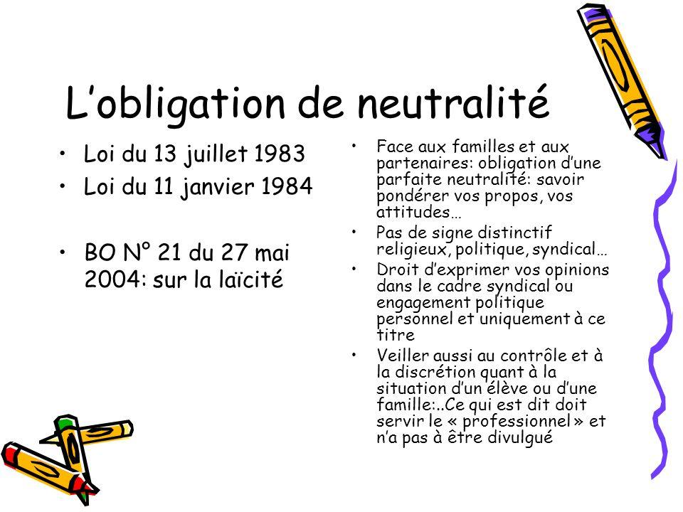 Lobligation de neutralité Loi du 13 juillet 1983 Loi du 11 janvier 1984 BO N° 21 du 27 mai 2004: sur la laïcité Face aux familles et aux partenaires: