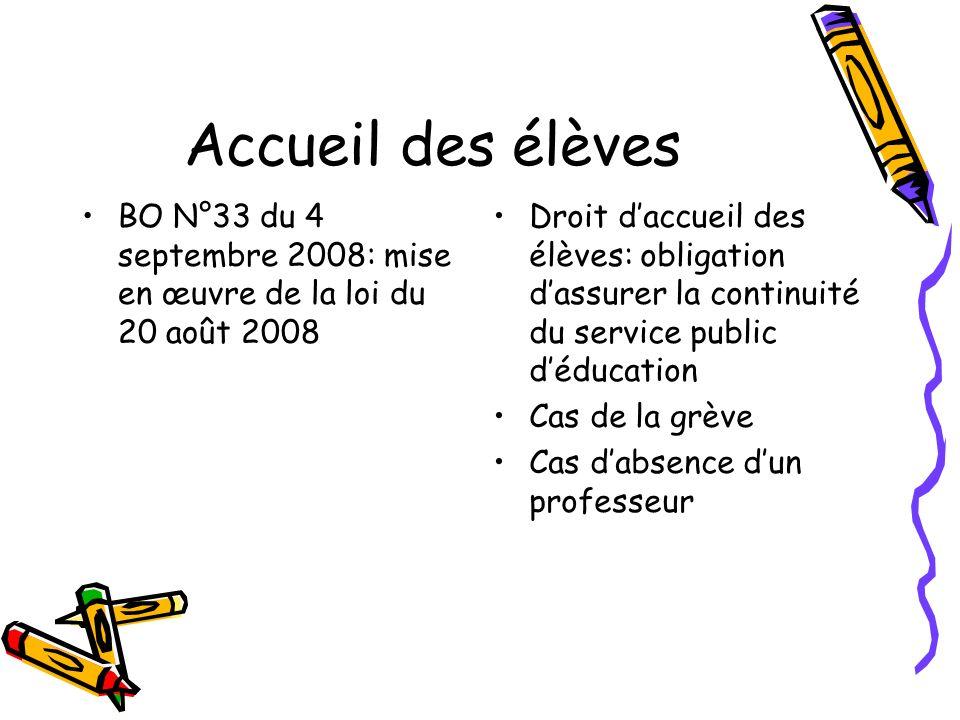 Accueil des élèves BO N°33 du 4 septembre 2008: mise en œuvre de la loi du 20 août 2008 Droit daccueil des élèves: obligation dassurer la continuité d