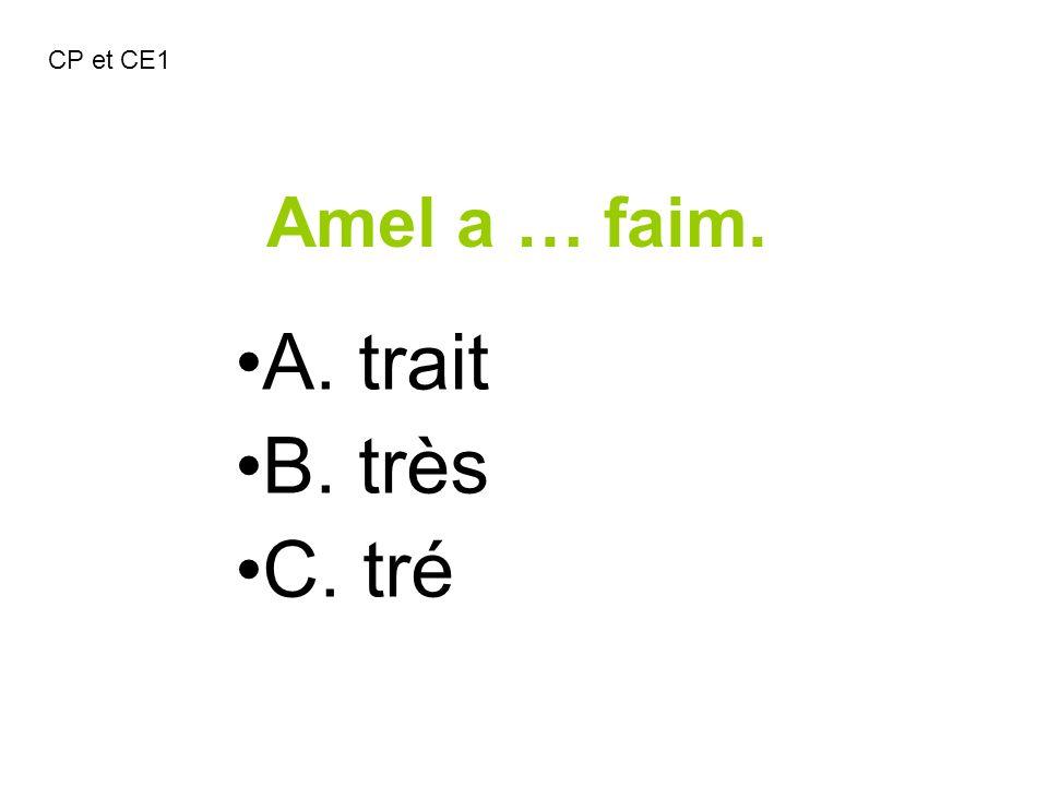 Amel a … faim. A. trait B. très C. tré CP et CE1