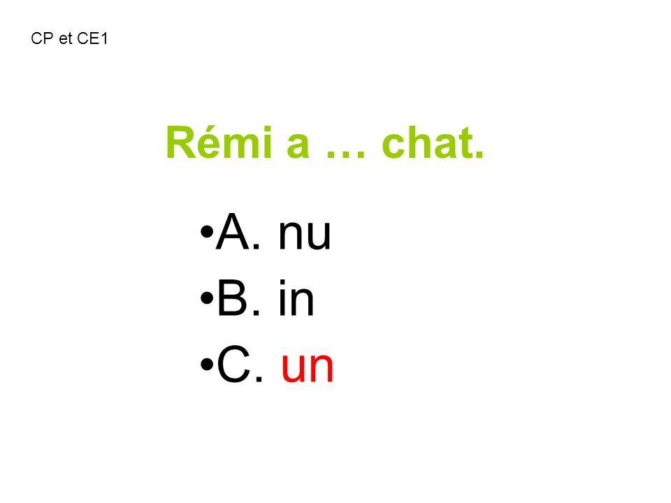 Rémi a … chat. A. nu B. in C. un CP et CE1