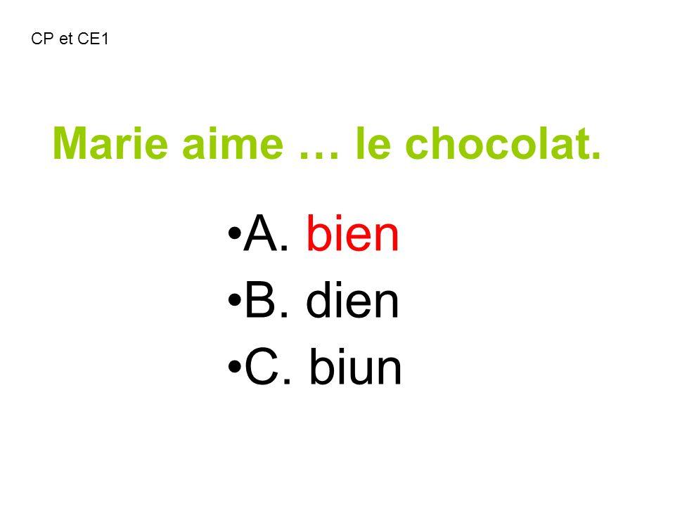 Marie aime … le chocolat. A. bien B. dien C. biun CP et CE1