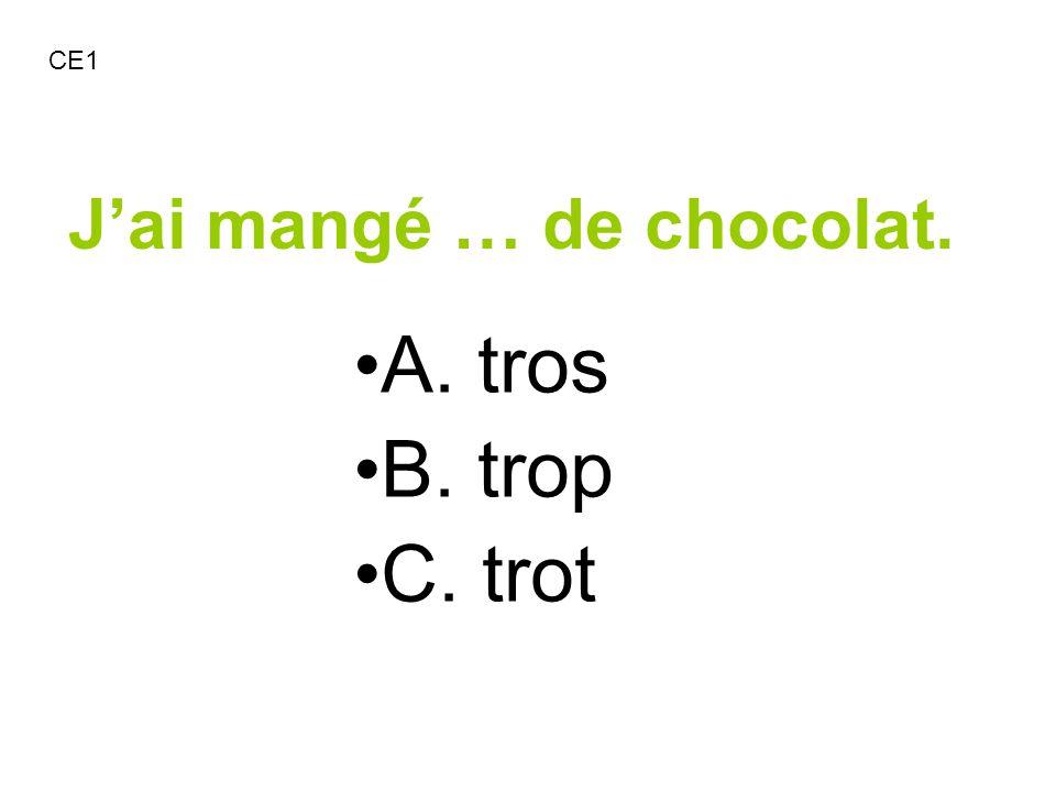 Jai mangé … de chocolat. A. tros B. trop C. trot CE1