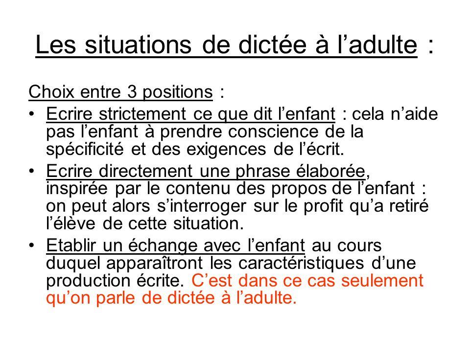 Les situations de dictée à ladulte : Choix entre 3 positions : Ecrire strictement ce que dit lenfant : cela naide pas lenfant à prendre conscience de