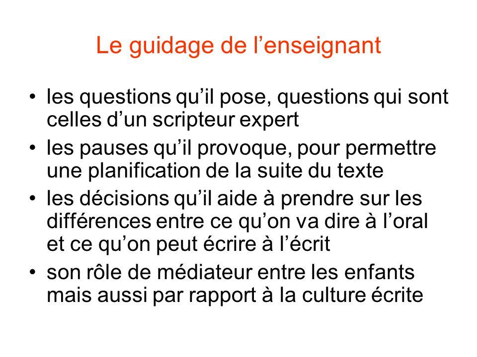 Le guidage de lenseignant les questions quil pose, questions qui sont celles dun scripteur expert les pauses quil provoque, pour permettre une planifi