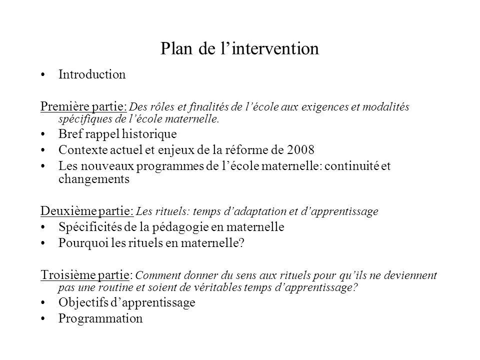 Plan de lintervention Introduction Première partie: Des rôles et finalités de lécole aux exigences et modalités spécifiques de lécole maternelle. Bref