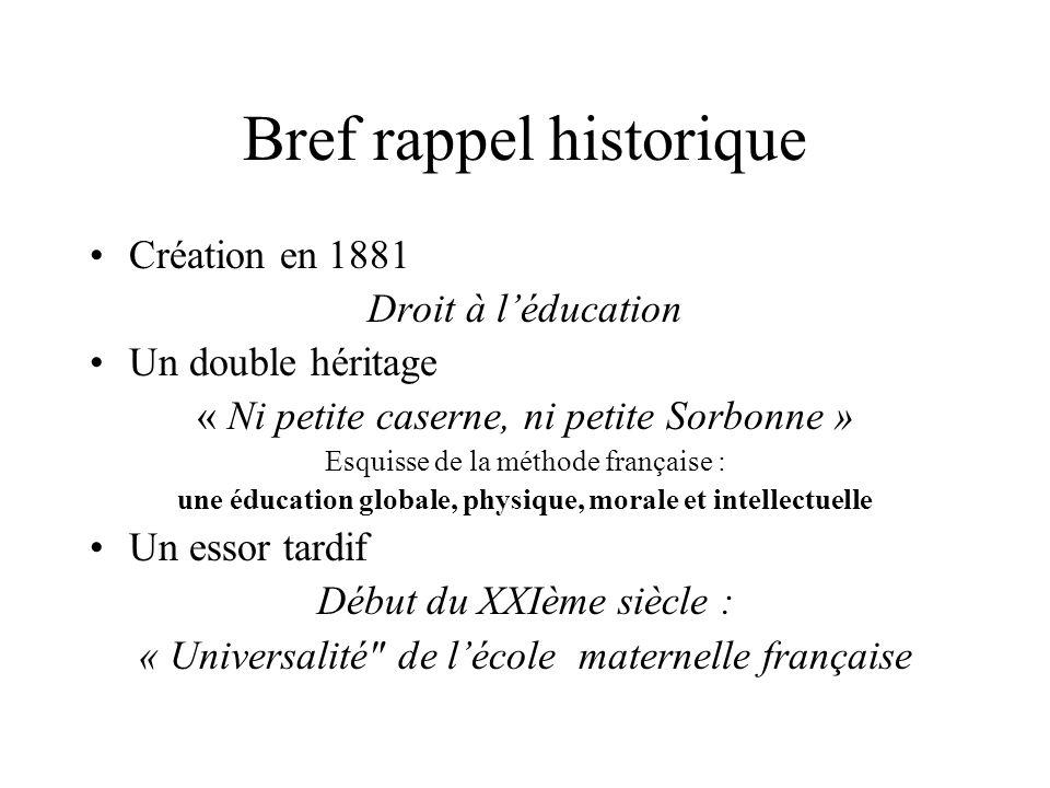 Bref rappel historique Création en 1881 Droit à léducation Un double héritage « Ni petite caserne, ni petite Sorbonne » Esquisse de la méthode françai