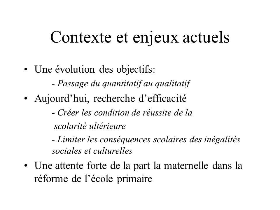 Contexte et enjeux actuels Une évolution des objectifs: - Passage du quantitatif au qualitatif Aujourdhui, recherche defficacité - Créer les condition