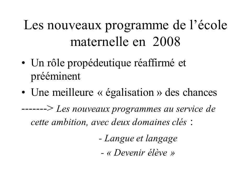 Les nouveaux programme de lécole maternelle en 2008 Un rôle propédeutique réaffirmé et prééminent Une meilleure « égalisation » des chances -------> L