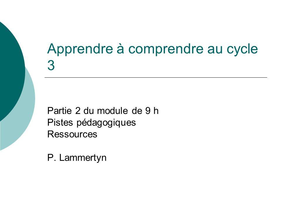 Apprendre à comprendre au cycle 3 Partie 2 du module de 9 h Pistes pédagogiques Ressources P. Lammertyn