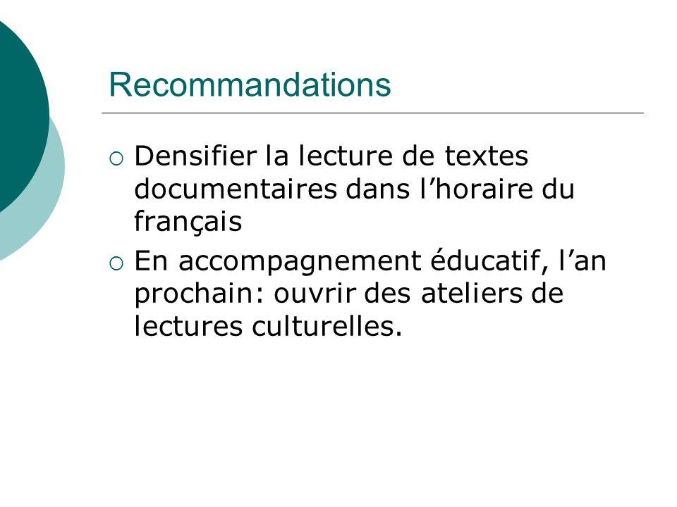 Recommandations Densifier la lecture de textes documentaires dans lhoraire du français En accompagnement éducatif, lan prochain: ouvrir des ateliers d