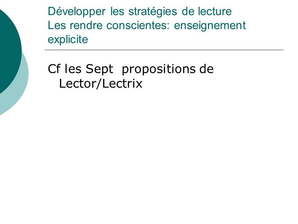 Développer les stratégies de lecture Les rendre conscientes: enseignement explicite Cf les Sept propositions de Lector/Lectrix