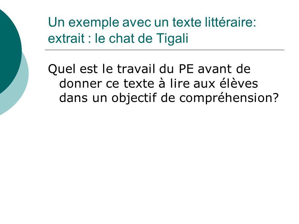 Un exemple avec un texte littéraire: extrait : le chat de Tigali Quel est le travail du PE avant de donner ce texte à lire aux élèves dans un objectif