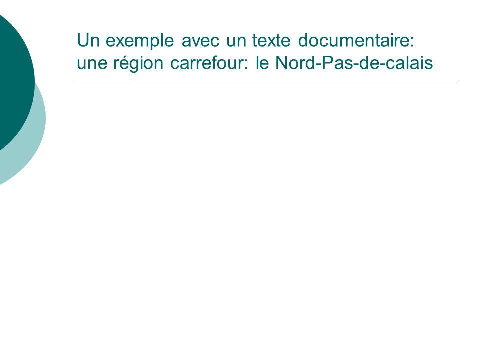 Un exemple avec un texte documentaire: une région carrefour: le Nord-Pas-de-calais